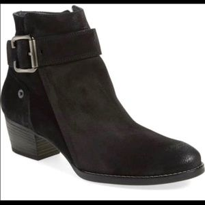 PAUL GREEN JANO MOTO BLACK SUEDE ANKLE BOOTIES